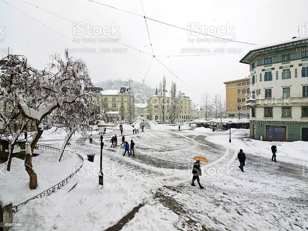Winter on Presern Square royalty-free stock photo