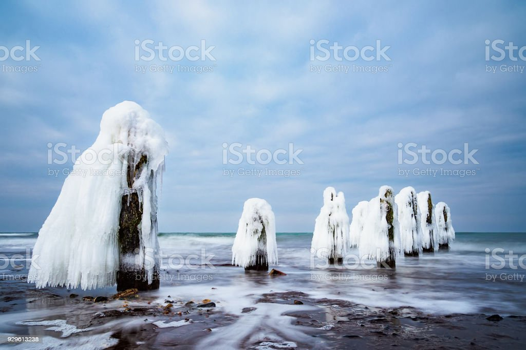 Winter on shore of the Baltic Sea in Kuehlungsborn, Germany stock photo