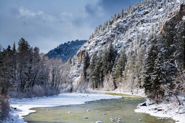Winter on the Animas River in Colorado The Animas River in Winter. Colorado Rocky Mountains san juan mountains stock pictures, royalty-free photos & images