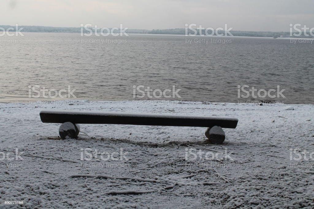 winter on the sea stock photo