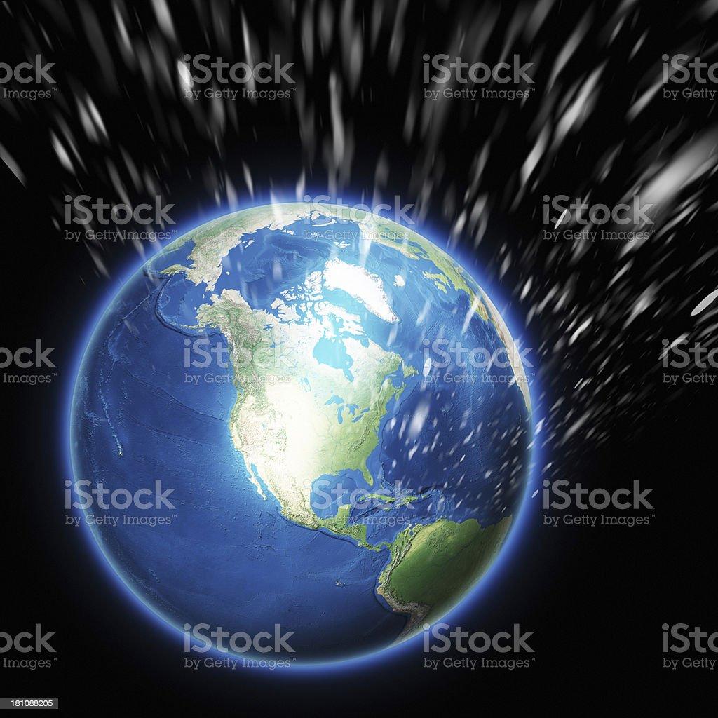 Winter over Earth - North America stock photo