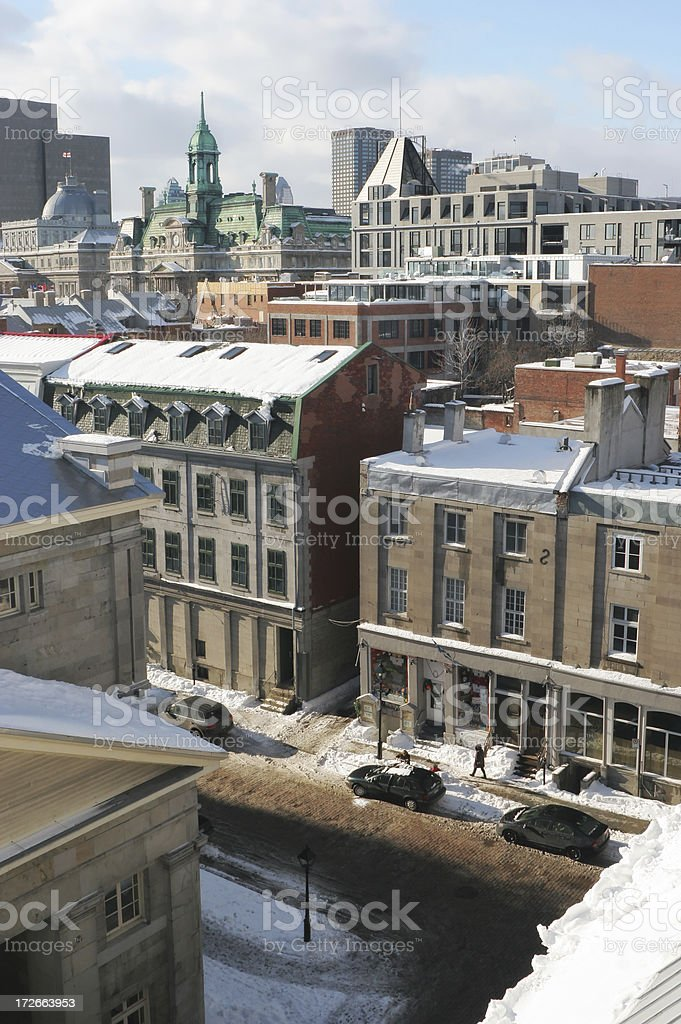 Winter over the old Montreal royalty-free stock photo