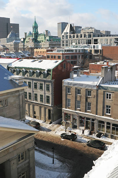 Winter over the old Montreal stock photo