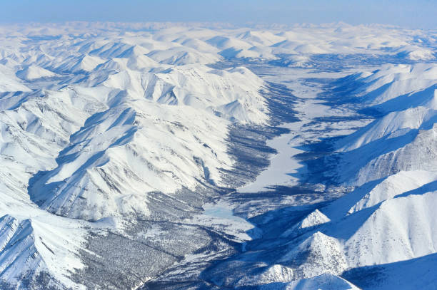 Winter Oymyakon (Yakutia) from a bird's-eye view.