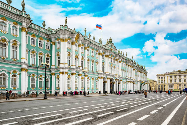 Winter Palace and Hermitage Museum.  Saint Petersburg. Russia. stock photo
