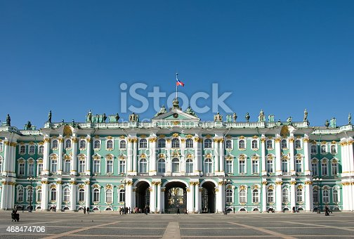 St. Petersburg, Russia - April 2, 2009: Winter Palace in St. Petersburg, Russia. The Winter Palace was the official home of Russian monarchs until 1917. It now houses the Hermitage Museum and contains one of the world's greatest art collections.