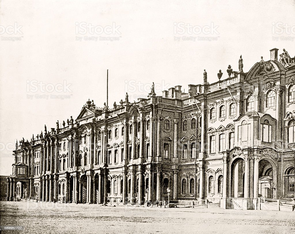 Winter Palace, St Petersburg, Russia in 1880 stock photo
