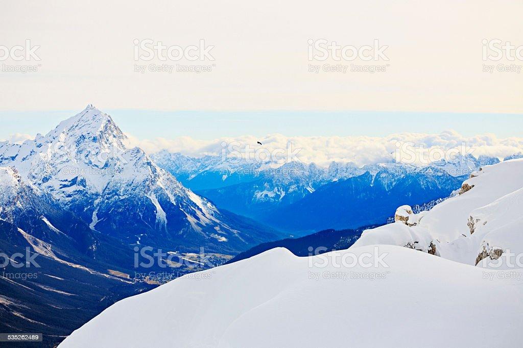 Winter Panorama    Alps Mountains Snowy Landscape  Cortina d'Ampezzo Italy stock photo