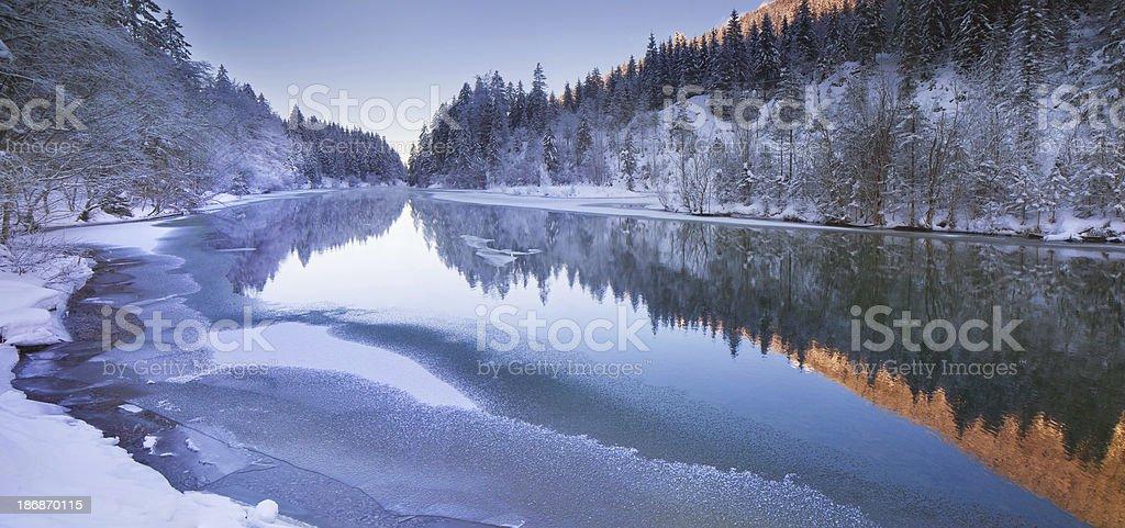 winter panorama at lake plansee in tirol - austria royalty-free stock photo