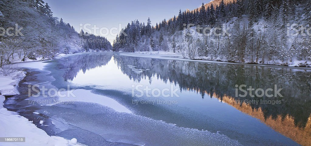 winter panorama at lake plansee in tirol - austria stock photo