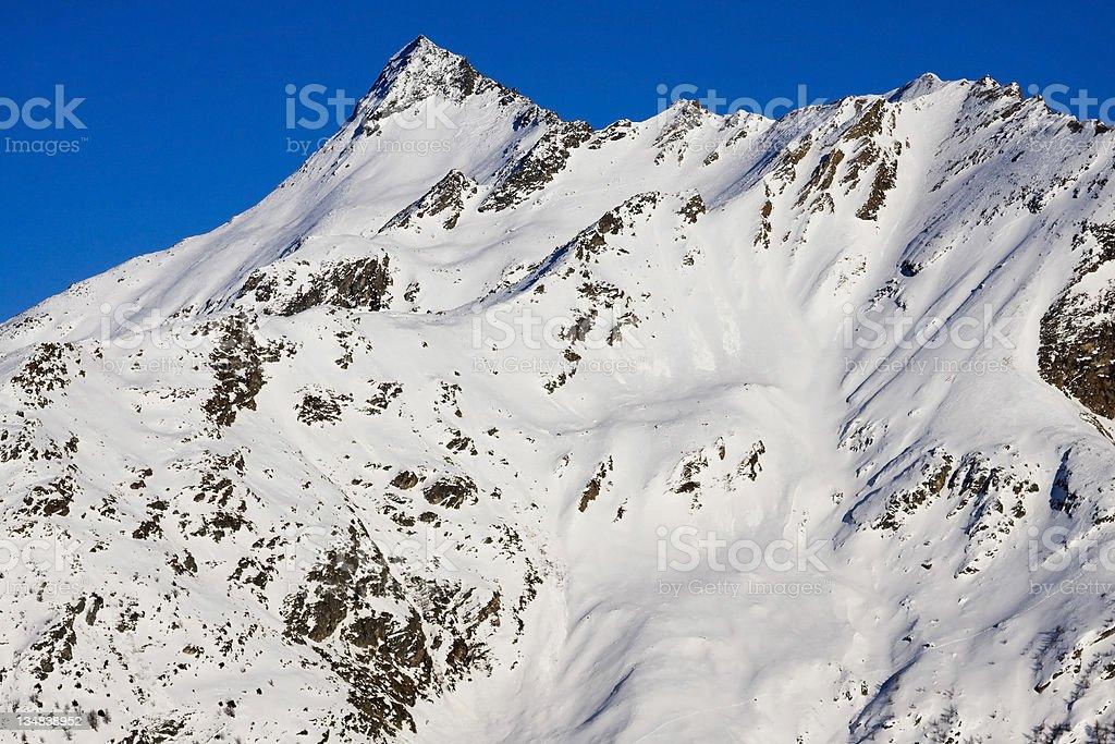winter panorama at simplon pass stock photo