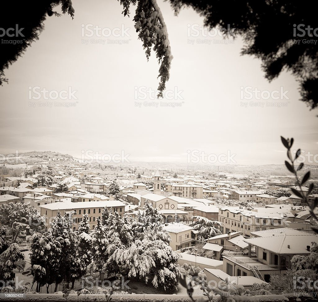 Winter panorama , houses with roofs covered of snow in January royalty-free stock photo