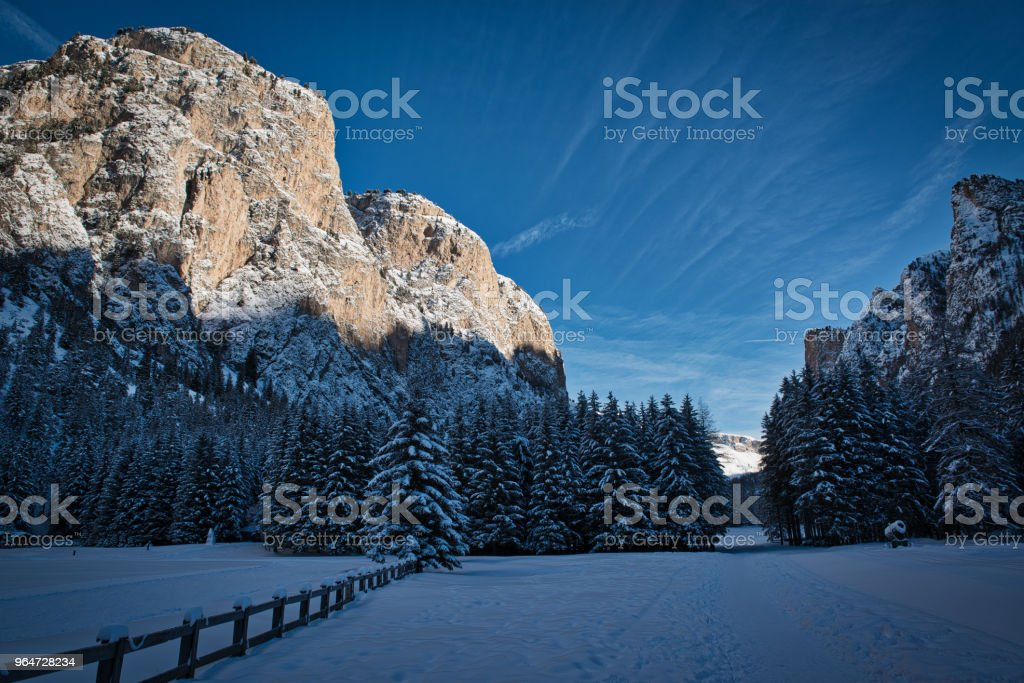 Winter panorama in the dolomites mountains royalty-free stock photo