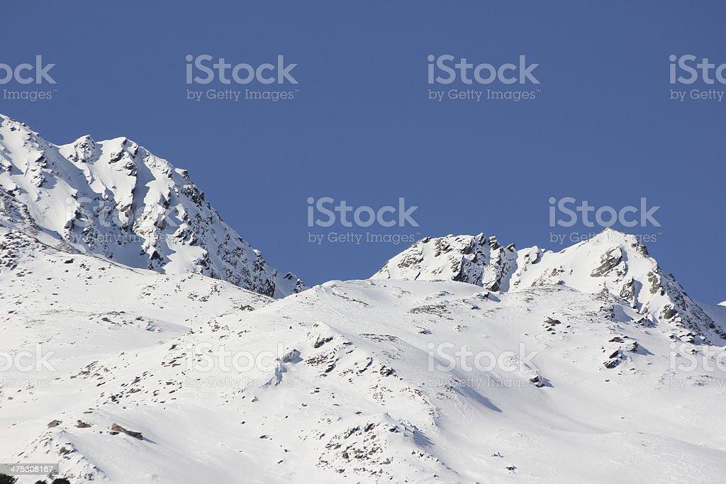 Winter Panorama, Mountain Peaks, Tyrol, Praxmar, Austria royalty-free stock photo