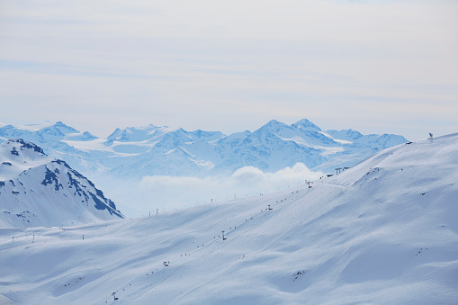 Winter panorama  Mountain snowy  landscape Ski resort  Livigno Italian Alps