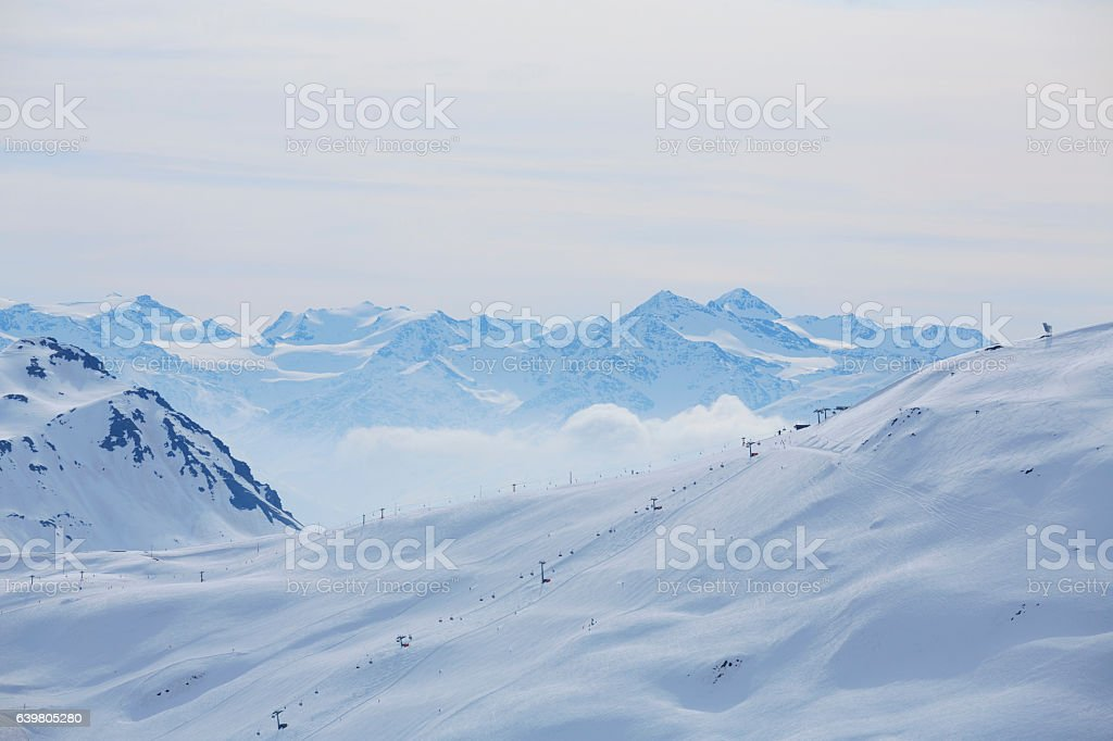 Winter panorama  Mountain snowy  landscape Ski resort  Livigno Italian Alps stock photo