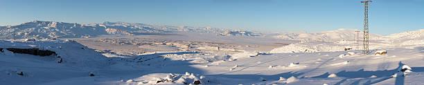 겨울맞이 파노라마를 포기됨 타운명을 마운트 Ararat 스톡 사진