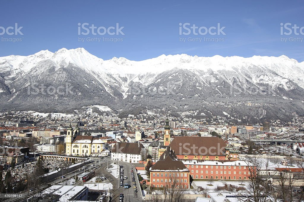 Winter Panorama of Innsbruck, Inntal and Nordkette, Tyrol, Austria stock photo