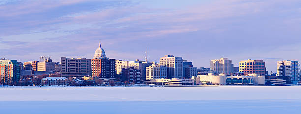 Winter panorama of Madison Winter panorama of Madison. Madison, Wisconsin, USA wisconsin state capitol stock pictures, royalty-free photos & images