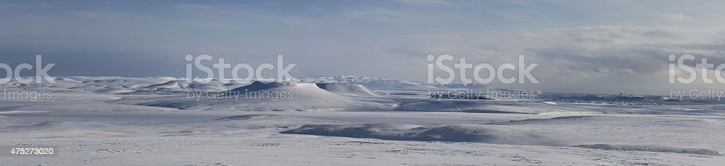 winter panorama of the northern part of the island Bering stock photo