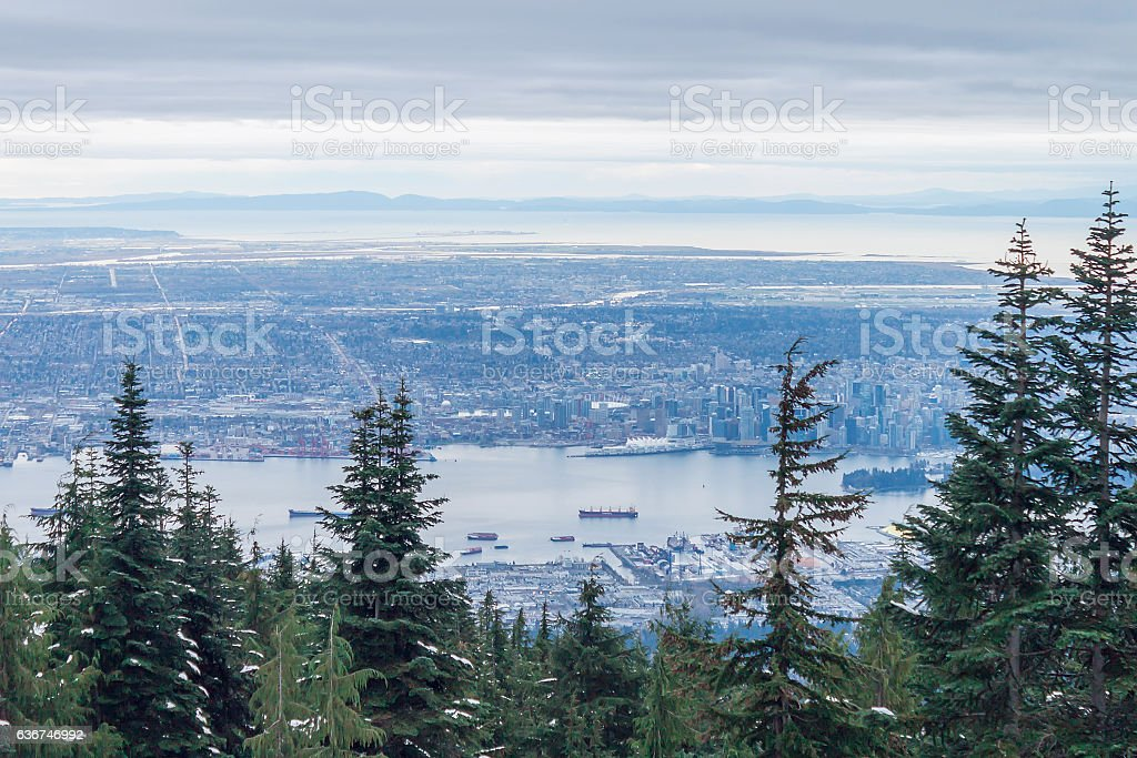 Winter Panorama of Vancouver from Grouse Mountain, British Columbia, Canada stock photo