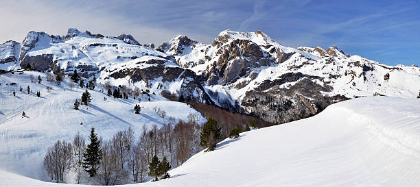 winter panorama seen from somport pass in pyrenees - bearn stok fotoğraflar ve resimler