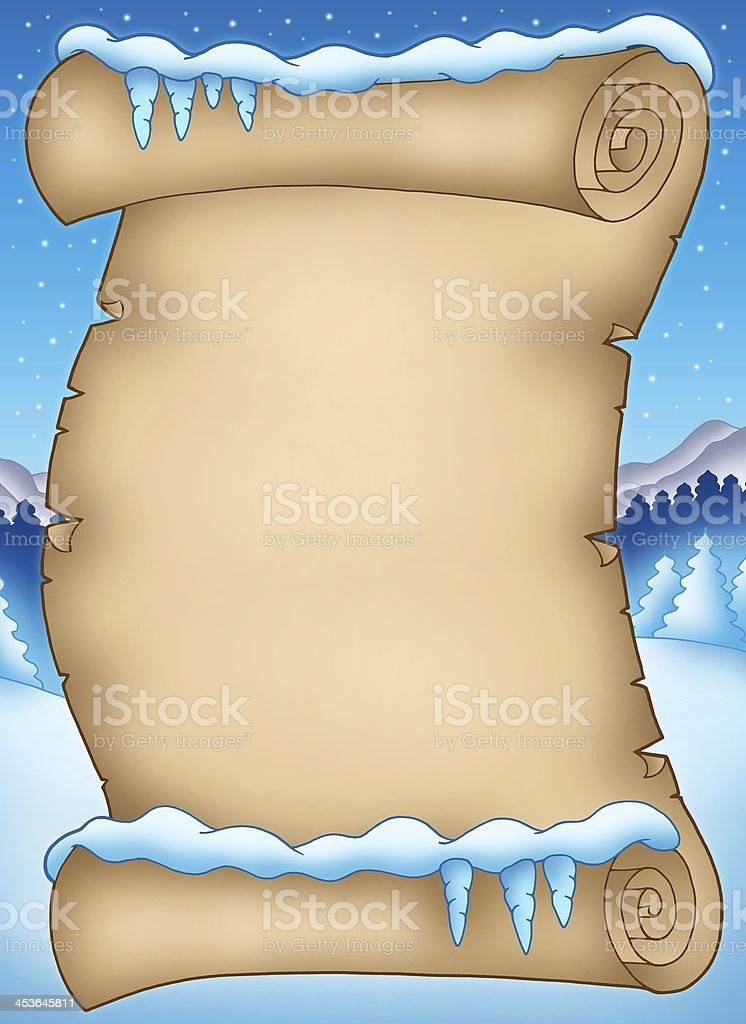 Winter parchment with landscape royalty-free stock photo