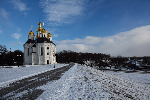 istock winter park in Chernihiv with Catherine church 527677728
