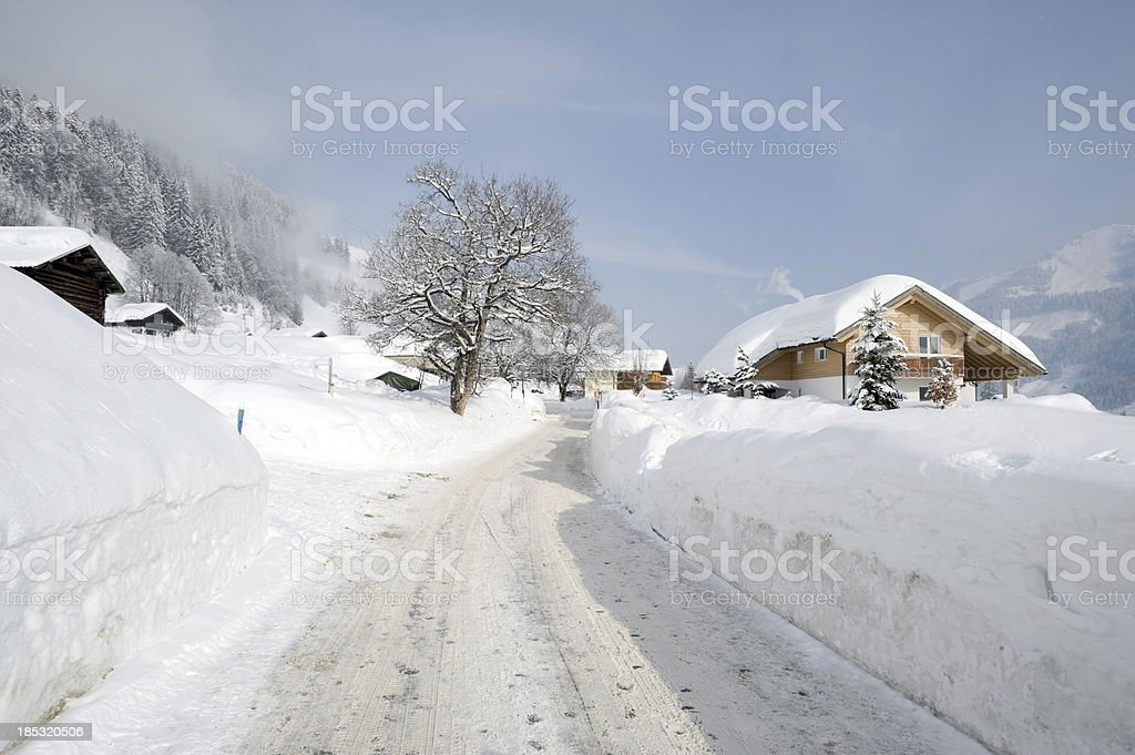 Winter path, Kleinwalsertal, Austria stock photo