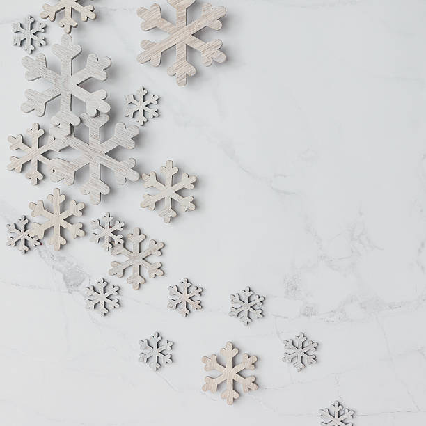 winter pattern made of snowflakes on marble background. winter c - c 101 - fotografias e filmes do acervo