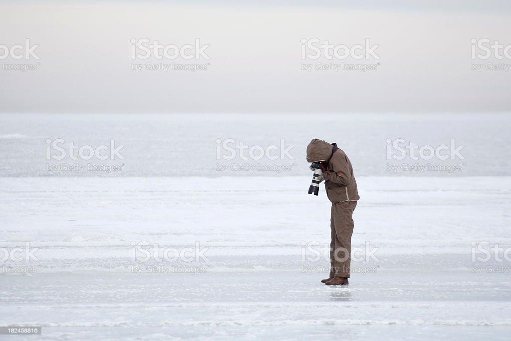 Fotógrafo de inverno foto royalty-free