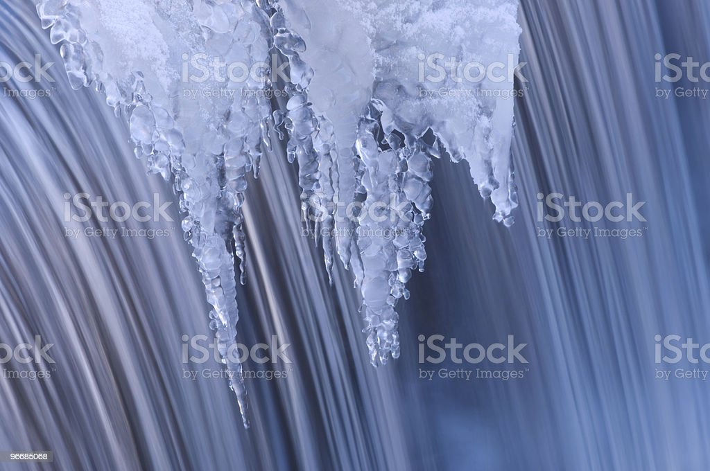 Winter Portage Creek Cascade stock photo