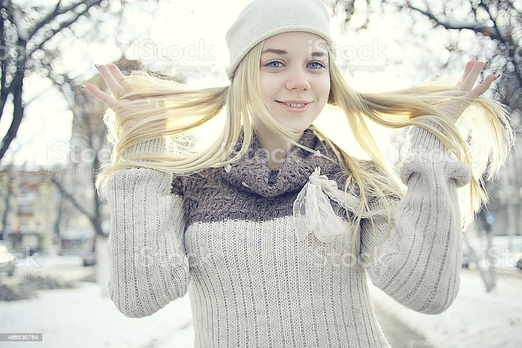 Winter Portrait Of A Cute Blonde Teen Stock Image