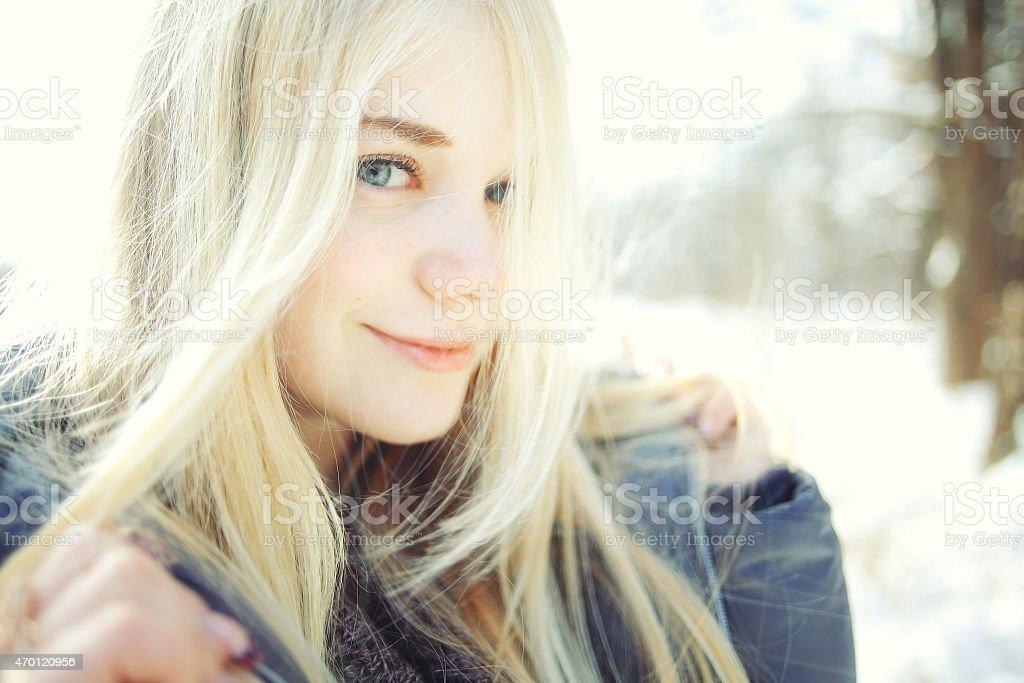 Cute blonde teen girl