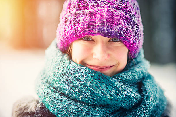 Winter portrait of a little girl stock photo