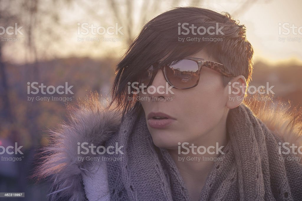 Winter portrait of a short haired girl stock photo