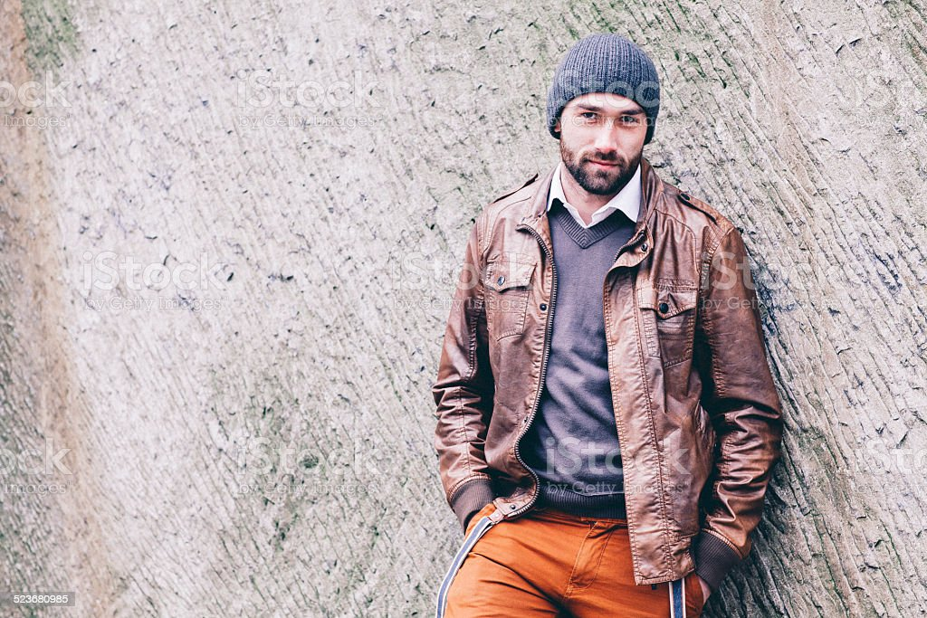 6f3bea3f039 Winter Portrait Of Handsome Bearded Young Man Hands In Pockets Stock ...