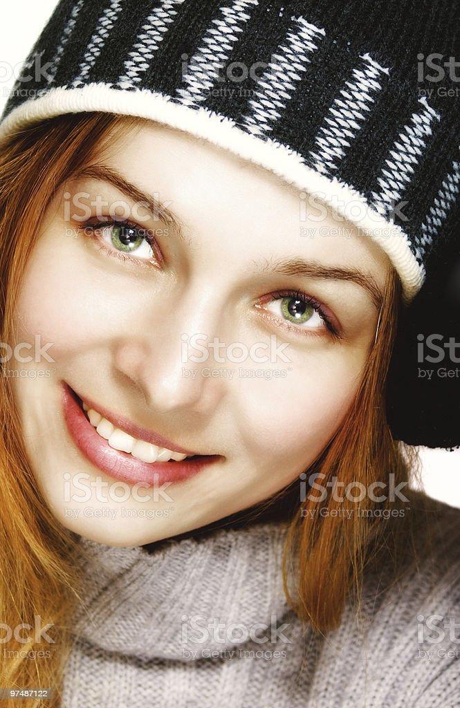 Winter portrait of one happy joyful woman royalty-free stock photo