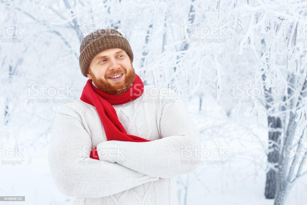 portrait d'hiver de la rousse barbe homme - Photo