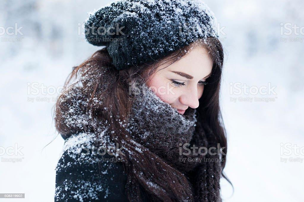 Winter Portrait of Young Woman royalty-free stock photo