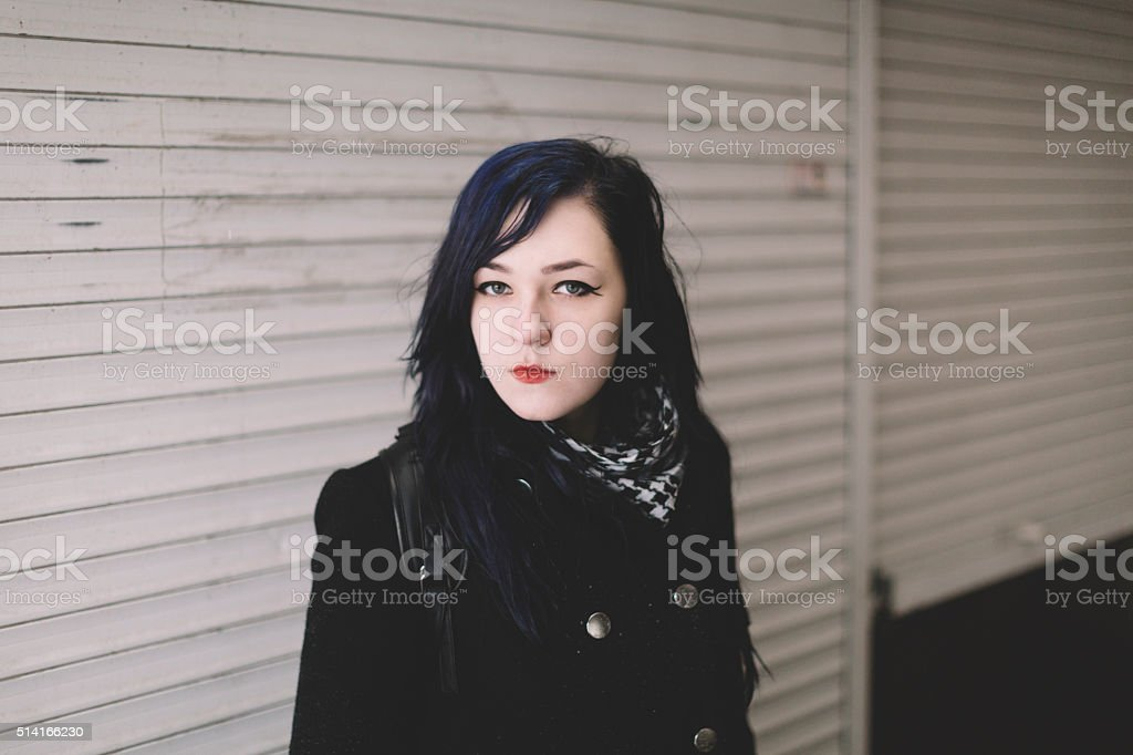 winter portrait of young woman stock photo