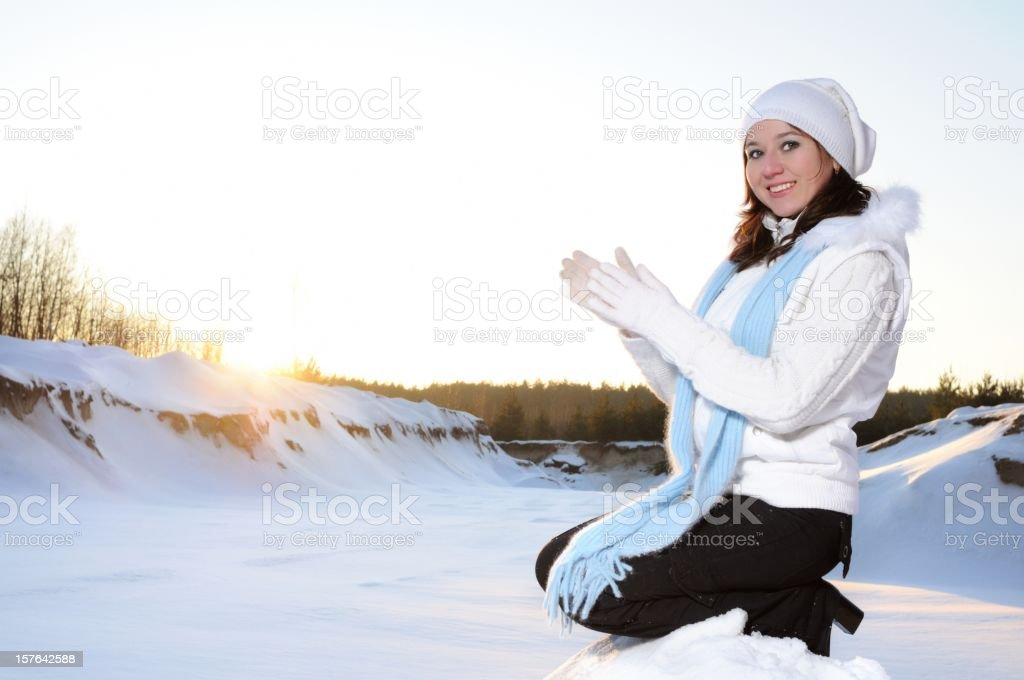 Winter Portrait with Sun royalty-free stock photo