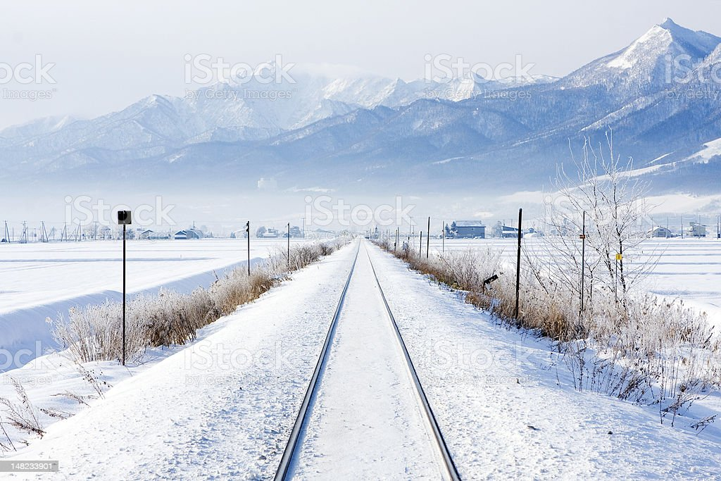 winter railroad royalty-free stock photo