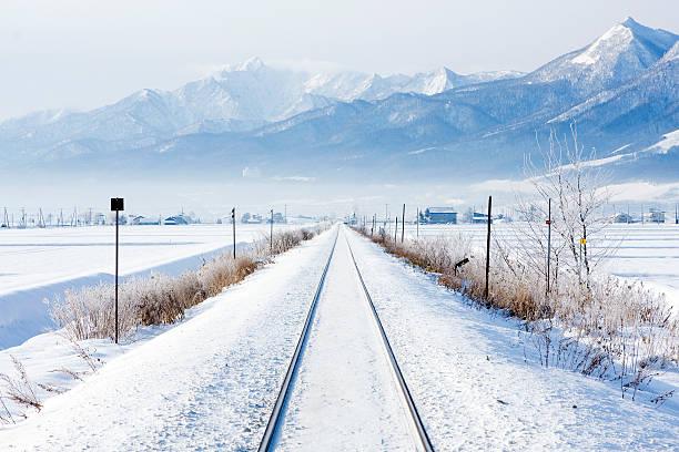 winter railroad stock photo