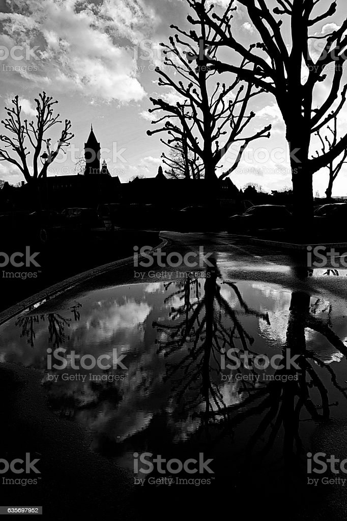 Winter reflection in Luxembourg. stock photo