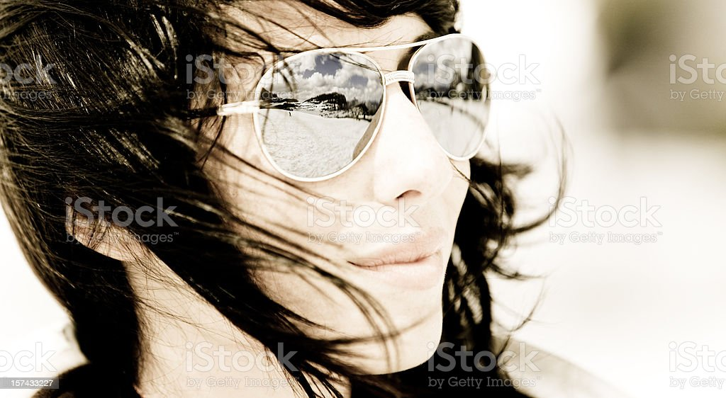 Winter Reflection in Sunglasses royalty-free stock photo