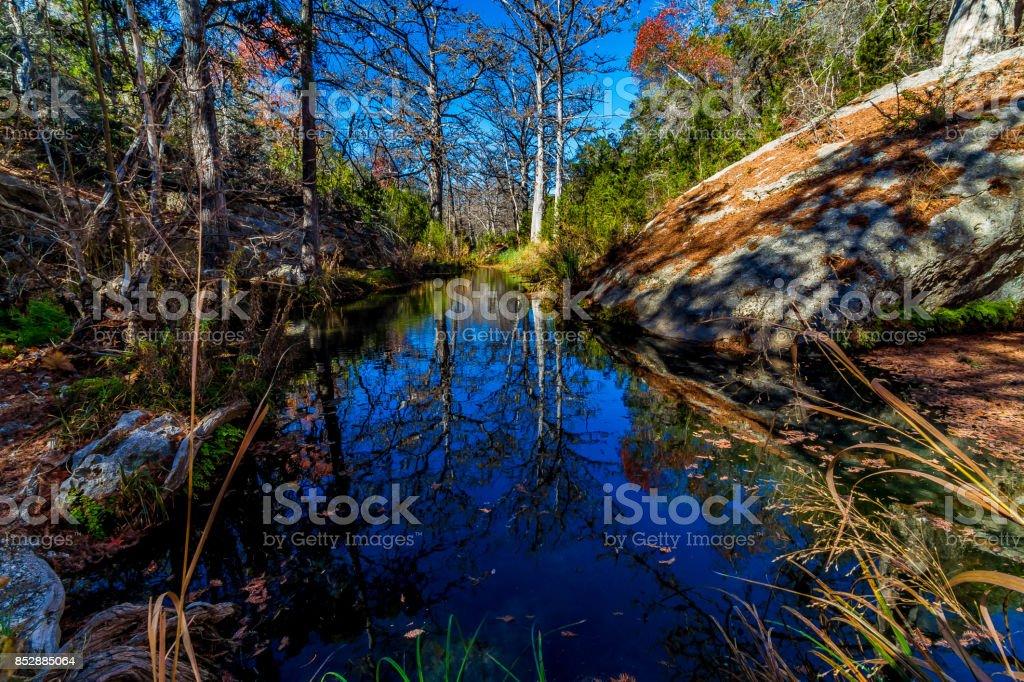 Winter Reflections in Hamilton Creek. stock photo