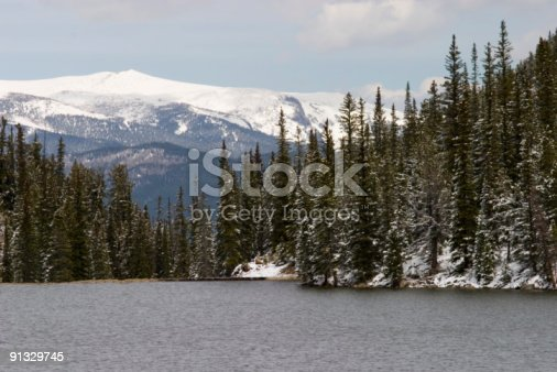 Resevoir above Georgetown in the wintertime.  Snow coverd pine trees and the Continental Divide are in the background.
