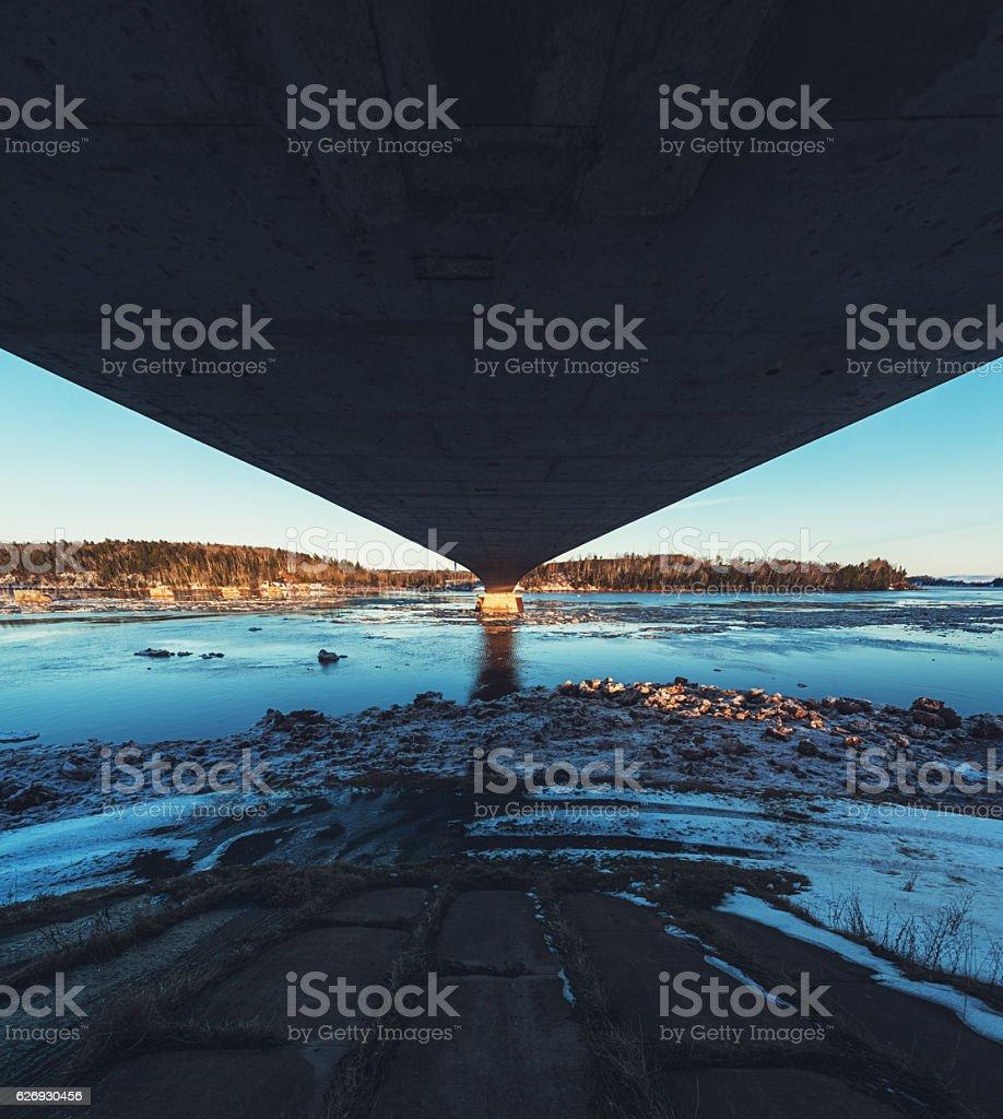 Winter River Bridge stock photo