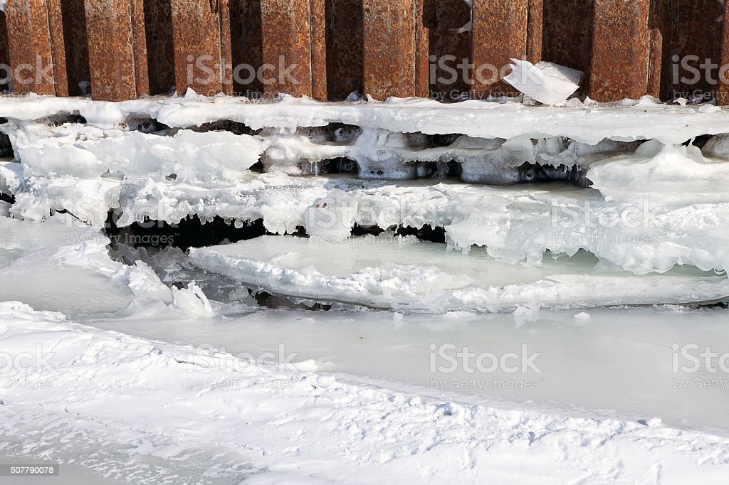 winter river mooring with ice and snow melt water stock photo